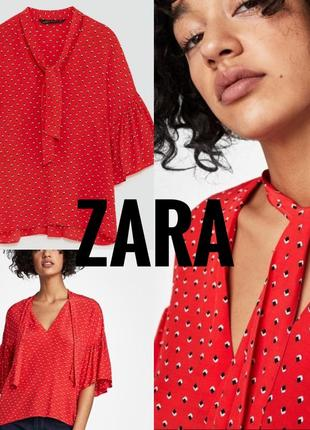 Красная блузка zara с короткими рукавами размер s