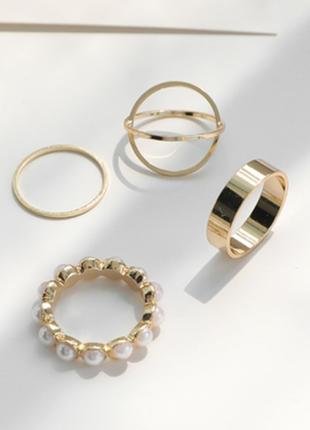 Кольцо кольца каблучки 4 шт набор комплект стильные тренд под золото новые