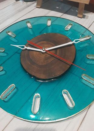 Минимализм часы на стену годинник лофт стиль эпоксидная смола дерево эксклюзив