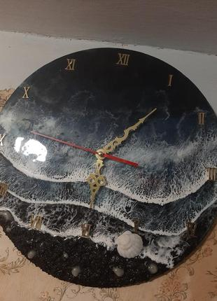 Ночное море волны часы подарок годинник на стену лофт стиль эпоксидная смола картина