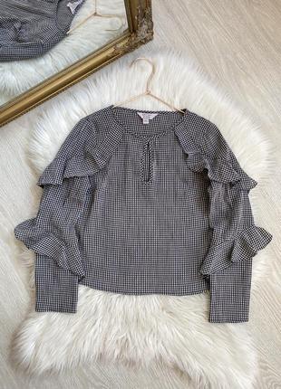 Нежная женская блуза в клетку с рюшами xs-s