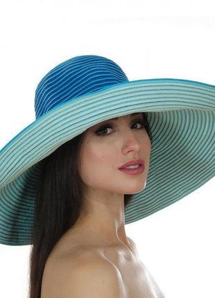Яркая шляпка с широкими полями модная красивая на жару