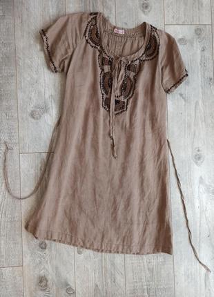 Льняна сукня легка вишита бісером льон капучіно didi платье льняное