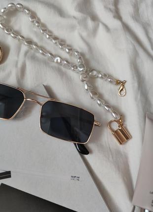 Очки окуляри стильные в стиле 90-х трендовые черные солнцезащитные новые uv4006 фото