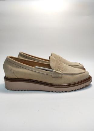 Мокасины женские замшевые пудра новые бренд лоферы туфли