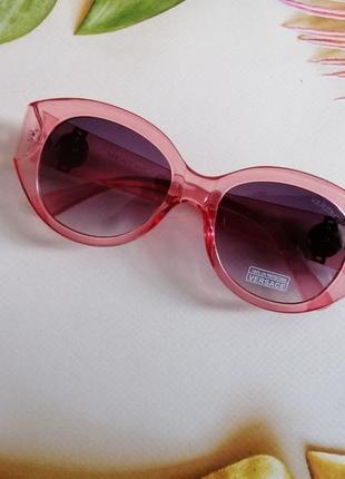 Эксклюзивные брендовые шикарные розовые солнцезащитные женские очки c фирменным футляром 20214 фото