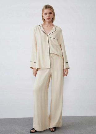 Рубашка  в пижамном стиле супер  качество