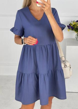 Синее льняное платье свободного кроя