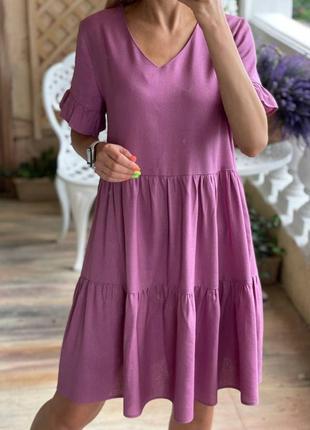 Розовое платье из льна свободного кроя