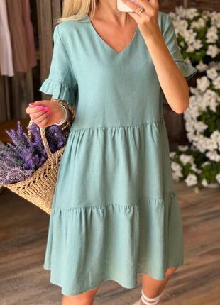 Бирюзовое льняное платье свободного кроя