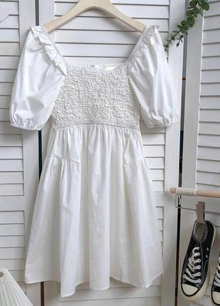 Милейший летний сарафан. платье🤍  верх прошит резинкой, юбка трапеция, материал креп-котон  🌈 белые, черные, мята, желтые размер уни 42-44