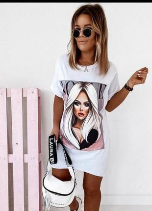 Платье футболка принт 😍one size