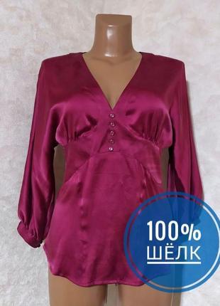 Шелковая блуза цвет фуксия, mango, m