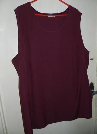 Женственная,базовая блузка-безрукавка-трапеция винного цвета,мега батал,ulla popken