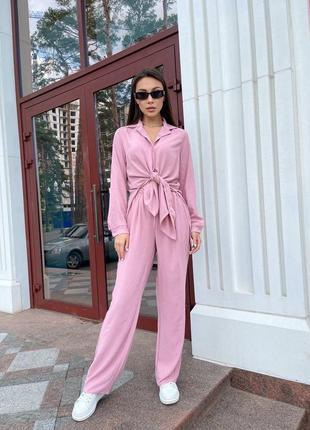 ▪️н о в и н к а▪️ костюм ⭐️ 🌳 3953  размеры: s-m(42-46), l-xl(48-50) ткань: американский креп-жатка цвета: бежевый, розовый, хаки