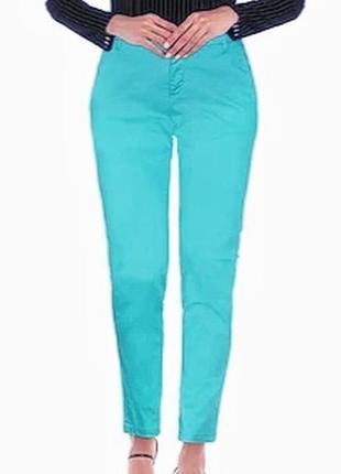 Стильные брюки чиносы бирюзового голубого цвета, barbara lebek, l