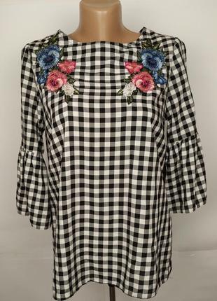 Блуза стильная натуральная с вышивкой new look uk 8/36/xs