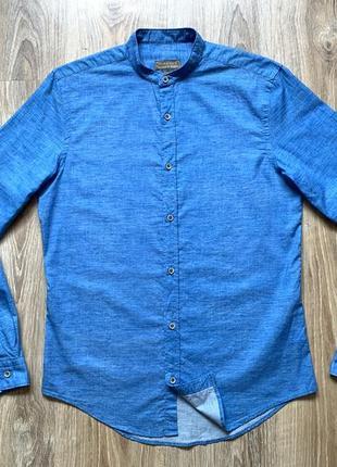 Мужская легкая рубашка с воротником стойкой zara man slim fit