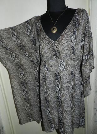 Асимметричная блузка,пляжная туника в анимал-змеиный принт с бисером,большого размера,оверсайз