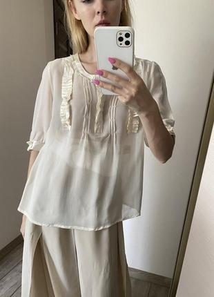 100% шёлк. нарядная прозрачная блуза на лето set