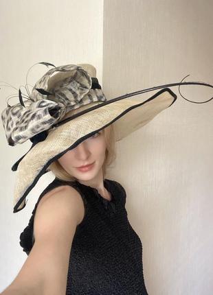 Большая шляпа ретро винтаж с бантом