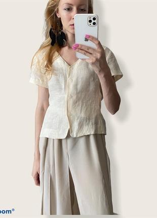 Шёлк +лён. короткая рубашка блуза на пуговицах jones new york