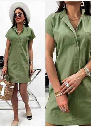 Женское летнее льняное платье , норма и батал