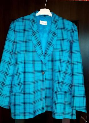 Трендовый пиджак/жакет в актуальную клетку, стильный, бойфренд, батальный, удлиненный,с карманами