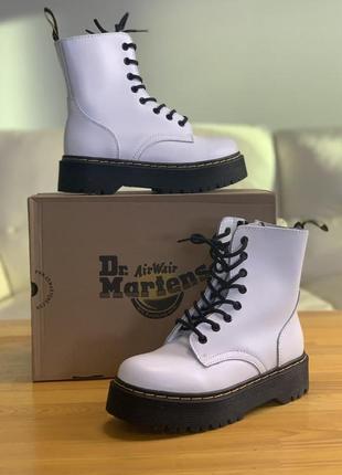 Ботинки женские dr. martens белые кожа / черевики жіночі маренс білі шкіра