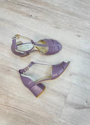 Эксклюзивные босоножки женские натуральная итальянская кожа и замша лиловые6 фото