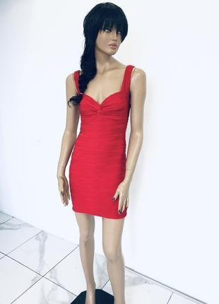 Сексуальное красное алое платье с декольте - новое без бирки jane norman размер xc/c1 фото