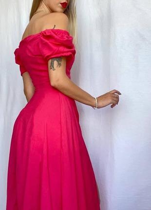 Малиновое шикарное платье миди с высоким разрезом и объёмными рукавами2 фото