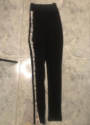 Распродажа все новое 🔥🔥🔥 черные штаны в обтяжку с логотипом