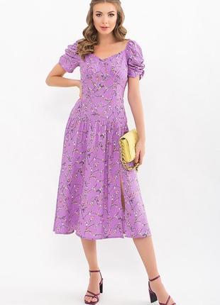 Платье никси к/р лиловое в цветочный принт   48560