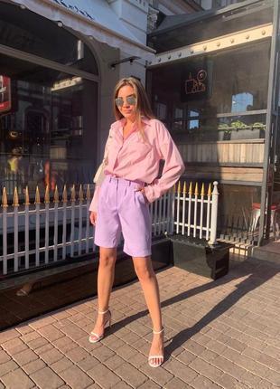 🍊костюм с шортами и рубашкой, до 48 р-ра, 190/167, розовый/сирень1 фото