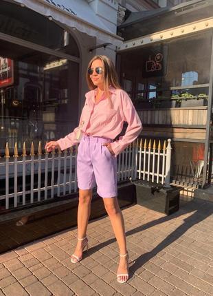 🍊костюм с шортами и рубашкой, до 48 р-ра, 190/167, розовый/сирень4 фото