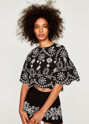 Zara блузка топ  с вышевкой решелье