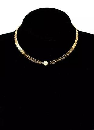 Цепочка на шею , ланцюжрк з перлиною, цепочка с жемчугом, золотой чокер, чокер