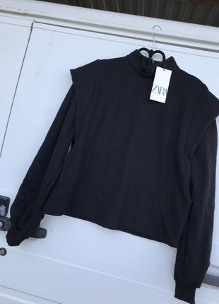 Zara толстовка с объемными рукавами свитшот свитер джемпер