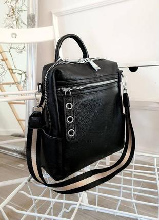 Черный кожаный рюкзак/сумка 2в12 фото