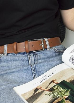 Ремень женский кожаный под джинсы светло-коричневый ps-3532 (135 см)