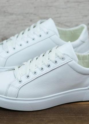 Мкжские кожаные кеды кроссовки белые натуральная кожа