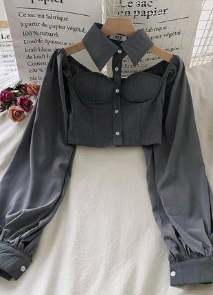 Блузка бюстье с чокером и широким рукавом