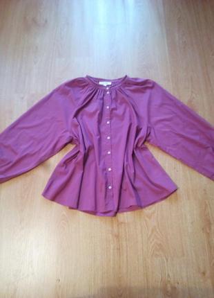 Шикарная хлопковая блуза с объёмными рукавами