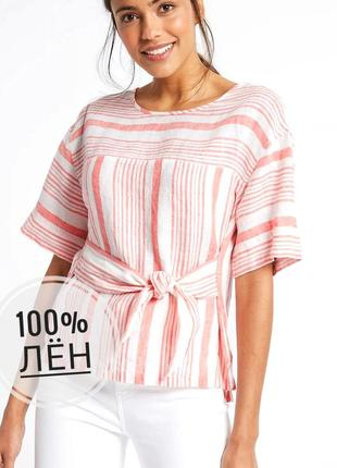 Стильная льняная блуза свободного кроя marks&spencer.