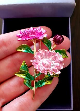 Брошь роскошный красочный цветок булавка розовый новый