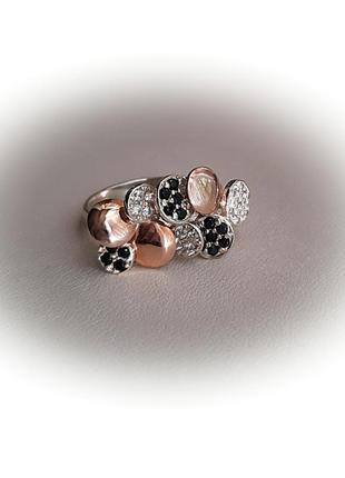 17 размер кольцо серебро с золотом