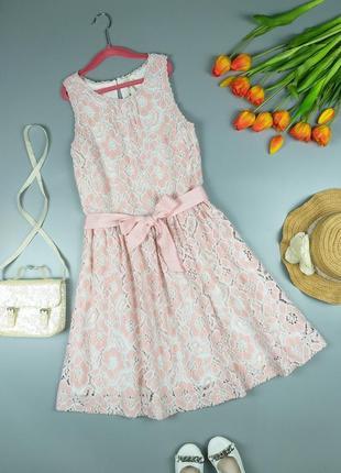 Платье нежное розовое ажурное с бантиком 12-13лет