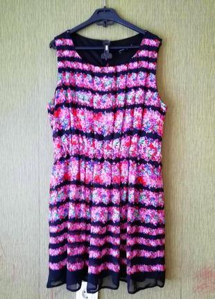 Платье в цветочный принт из складок, м/10.