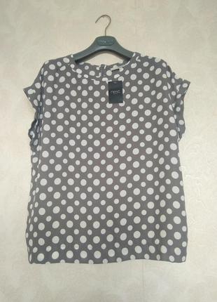 Актуальная серая блузка блуза в белый горох  бренда next р. uk 12
